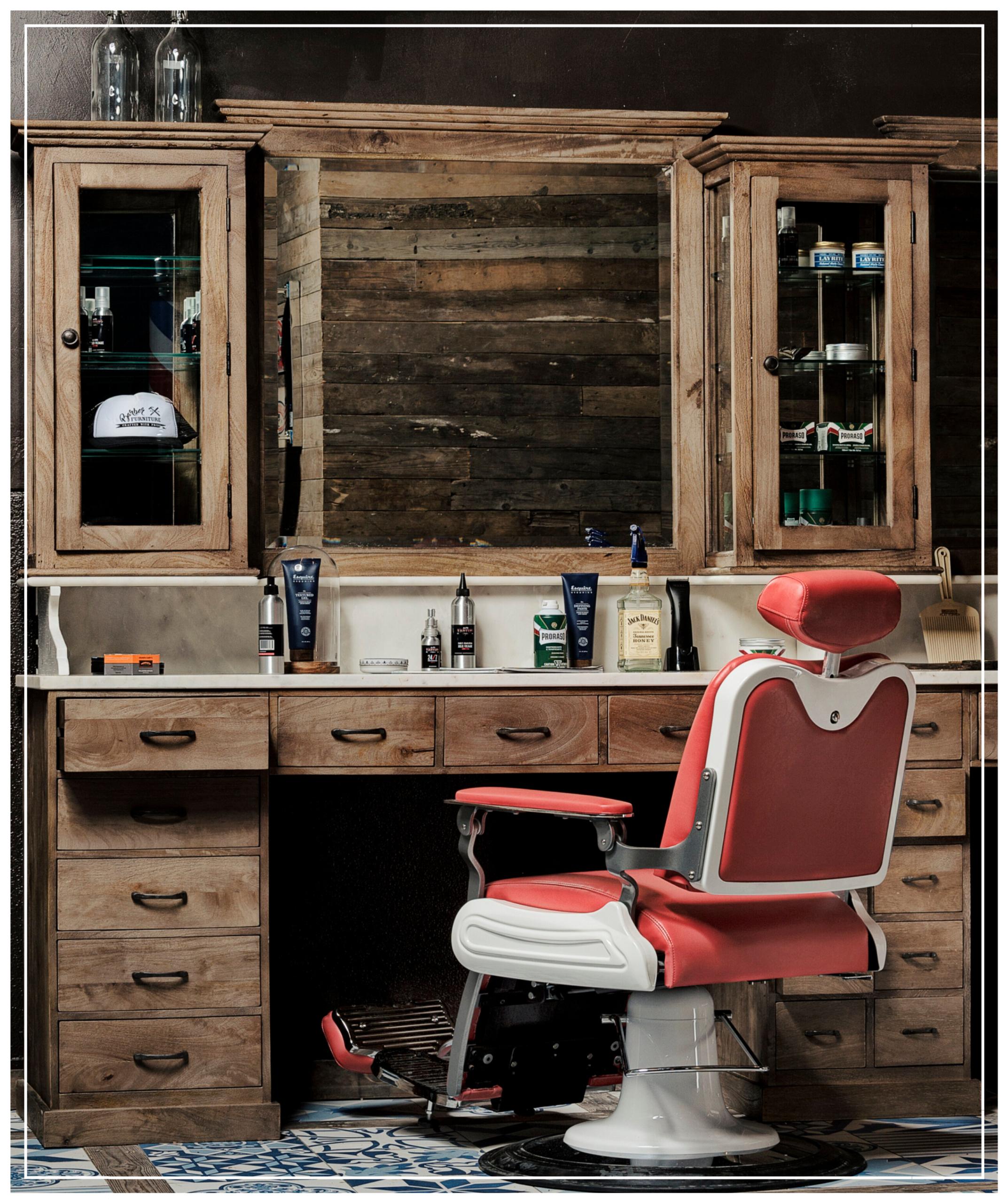 Vintage Barberunit | Barbershop furniture | USA | Real wood | Solid Marble